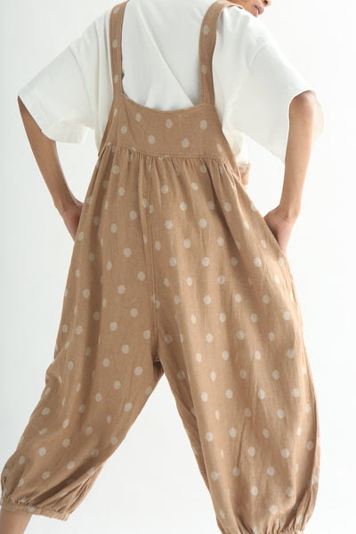 Ichi Overall Pant - Linen/Cotton in Camel Polka Dot back