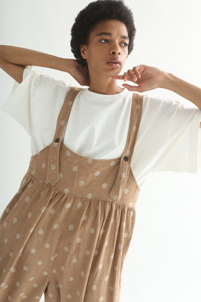 Ichi Overall Pant - Linen/Cotton in Camel Polka Dot shoulder strap detail