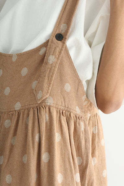 Ichi Overall Pant - Linen/Cotton in Camel Polka Dot adjustable shoulder strap button closure detail