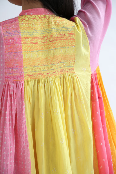 Injiri Dress - Cotton/Silk in Pink Multi back bodice embroidery detail