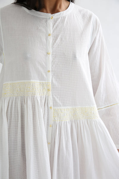 Injiri Dress - Cotton in White/Yellow front bodice smocking detail