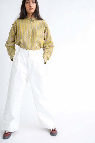 Studio Nicholson Seymour Trouser - Selvedge Denim in Optic White on model view front