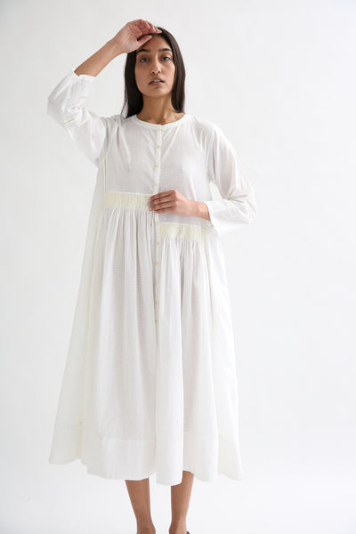 Injiri Dress - Cotton in White/Yellow on model view front