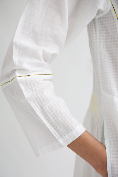 Injiri Dress - Cotton in White/Yellow sleeve detail