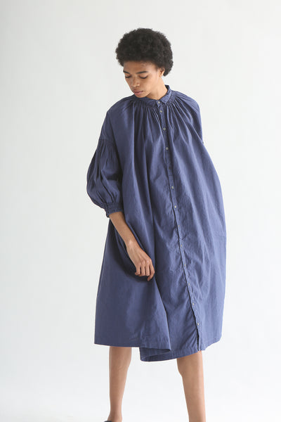nest Robe Smock Shirt Dress - Recycled Linen/Cotton in Dark Blue on model view front