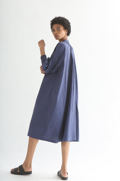 nest Robe Smock Shirt Dress - Recycled Linen/Cotton in Dark Blue side