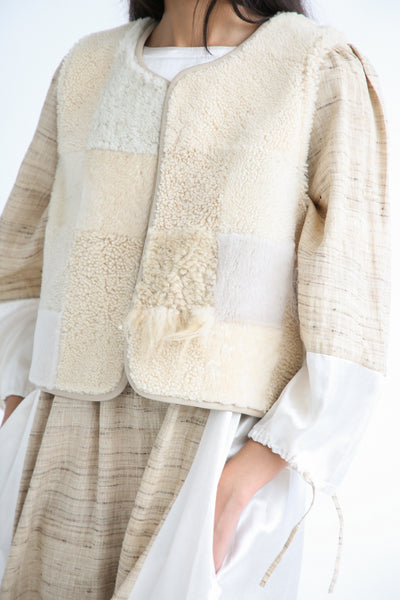 Milena Silvano Patchwork Vest Limited in Cream front