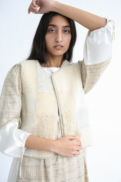 Milena Silvano Patchwork Vest Limited in Cream on model view front