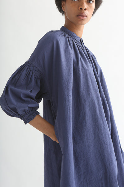 nest Robe Smock Shirt Dress - Recycled Linen/Cotton in Dark Blue sleeve and pocket detail