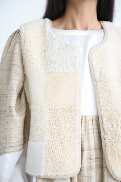 Milena Silvano Patchwork Vest Limited in Cream patchwork detail