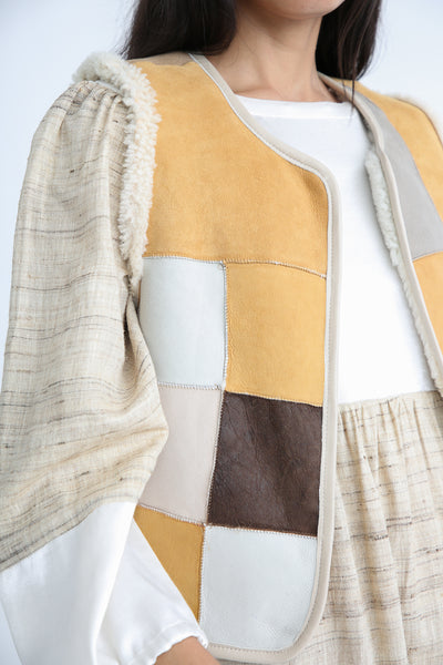 Milena Silvano Patchwork Vest Limited in Cream reverse side front