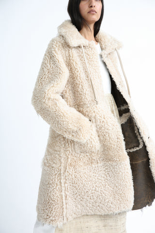 Milena Silvano Aubrey Coat in Cream and Brown side