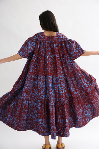 Odile Jacobs Flounce Dress in Red/Blue back