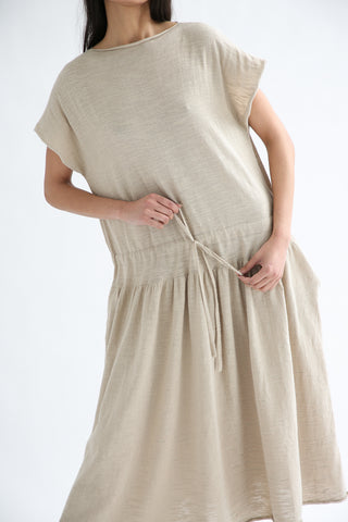 Lauren Manoogian Low Tier Dress in Greige waist tie detail