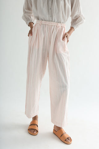 nest Robe Stripe Easy-Fit Pants - Cotton/Linen in Pink front