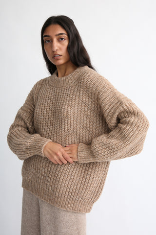 Lauren Manoogian New Fisherwoman Pullover in Camel Melange front