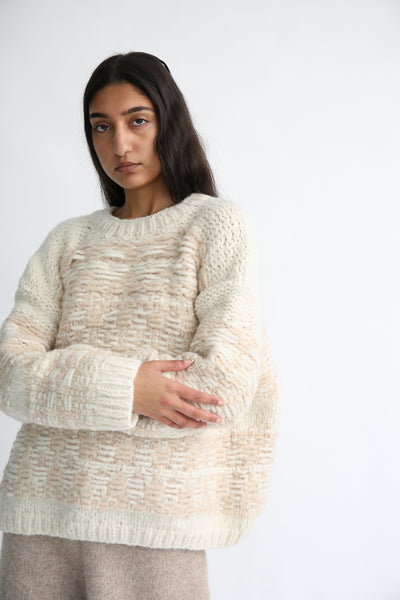 Lauren Manoogian Handknit Jacquard Crewneck in White/Beige Melange on model view front
