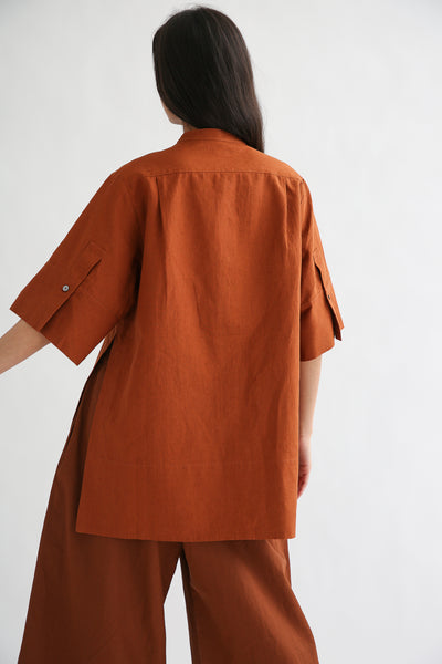 Studio Nicholson Suma Shirt - Coated Linen in Truffle back sleeve cuff detail