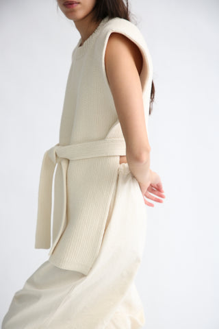 Lauren Manoogian Interlock Apron Top in Raw White on model view side