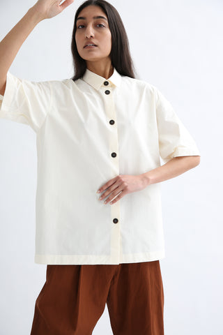 Studio Nicholson Piero Shirt - Coated Linen in Milk front