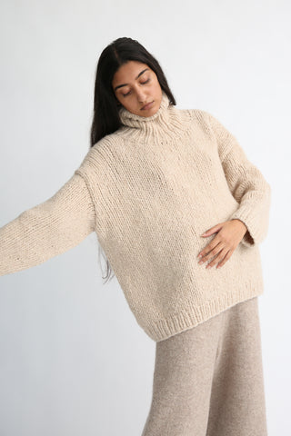 Lauren Manoogian New Handknit Turtleneck in Beige Melange on model view front