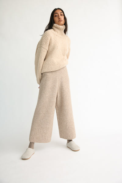 Lauren Manoogian Double Face Pants in Bale on model view front