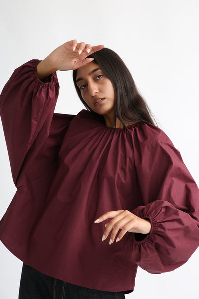 Studio Nicholson Posada Top - Enzyme Washed Cotton in Beetroot on model view front