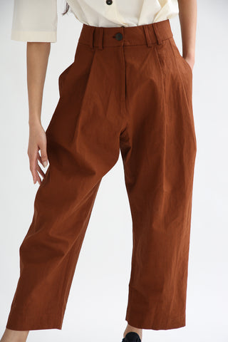 Studio Nicholson Bag Pants - Coated Linen in Truffle front