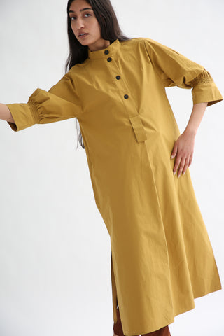 Studio Nicholson Knoll Dress - Powder Cotton in Tobacco front