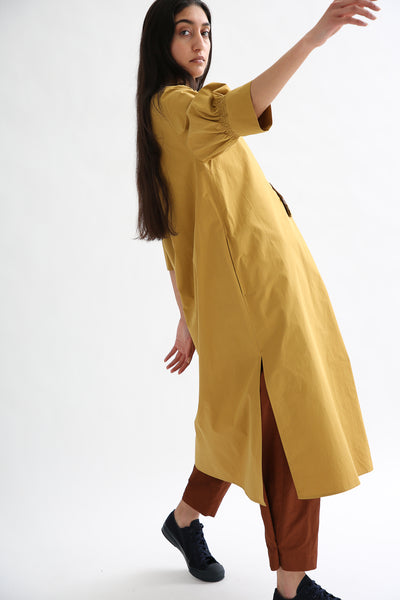 Studio Nicholson Knoll Dress - Powder Cotton in Tobacco side