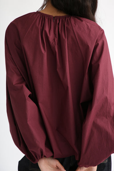Studio Nicholson Posada Top - Enzyme Washed Cotton in Beetroot back zipper detail