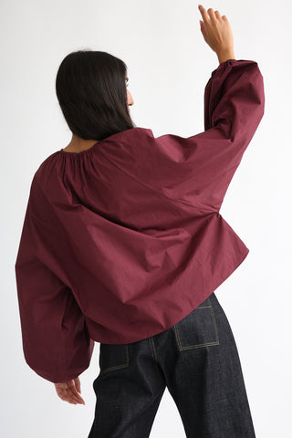 Studio Nicholson Posada Top - Enzyme Washed Cotton in Beetroot on model view back