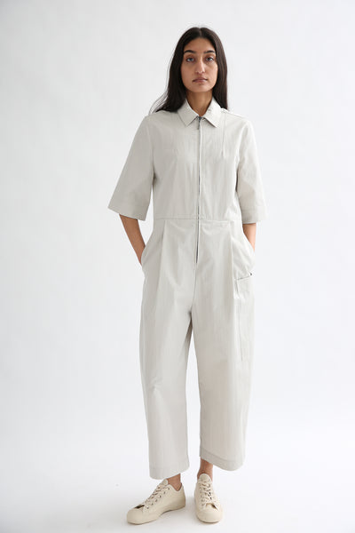 Studio Nicholson Berte Jumpsuit - Washed Cotton Poly in Ash on model view front