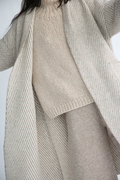 Lauren Manoogian Twill Long Coat in Bale Combo interior detail