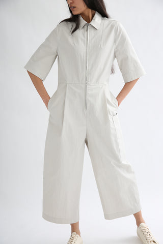 Studio Nicholson Berte Jumpsuit - Washed Cotton Poly in Ash front