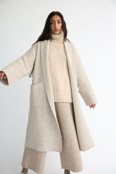 Lauren Manoogian Twill Long Coat in Bale Combo on model view front