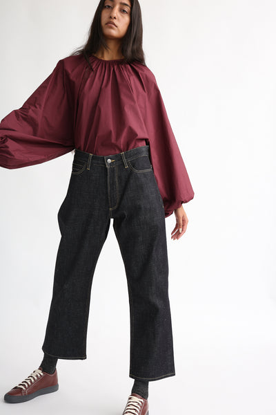 Studio Nicholson Ruthe Pant in Indigo on model view front