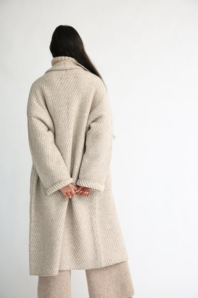 Lauren Manoogian Twill Long Coat in Bale Combo back