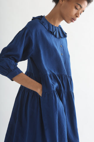 nest Robe Pleated Collar 2Way Dress - Safilin Linen in Blue pocket detail side