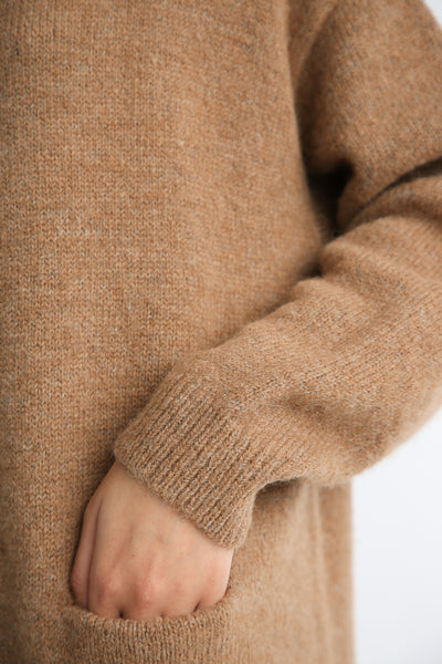 Lauren Manoogian Fluffy Crewneck Dress in Incense yarn detail