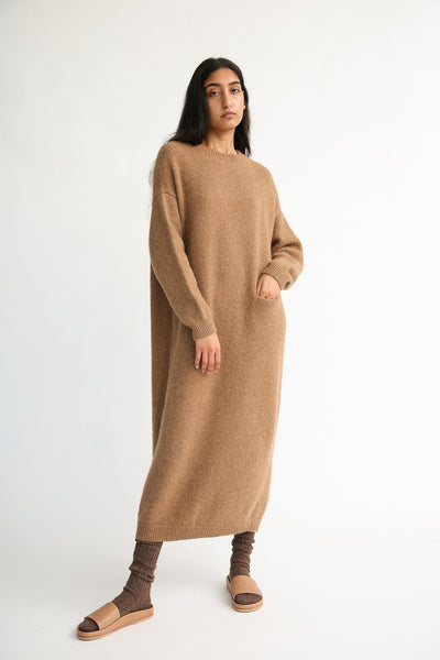 Lauren Manoogian Fluffy Crewneck Dress in Incense on model view front