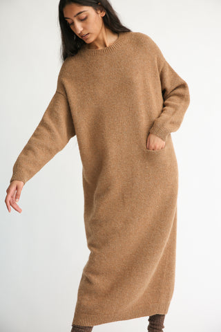 Lauren Manoogian Fluffy Crewneck Dress in Incense frontLauren Manoogian Fluffy Crewneck Dress in Incense front