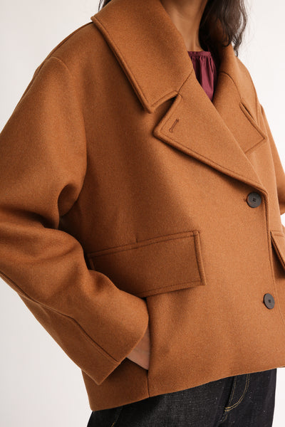 Studio Nicholson Hato Coat - Recycled Wool in Truffle pocket detail