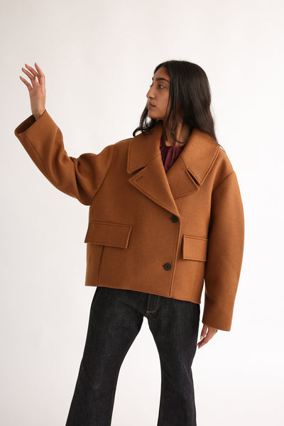 Studio Nicholson Hato Coat - Recycled Wool in Truffle onmodel view front