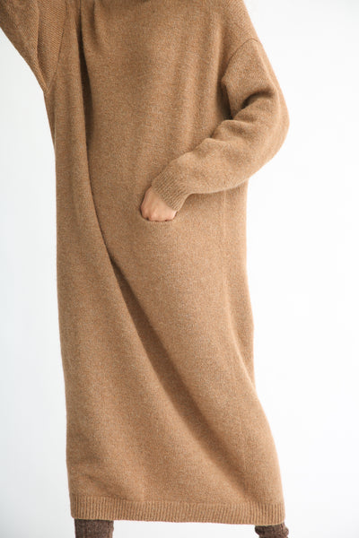 Lauren Manoogian Fluffy Crewneck Dress in Incense pocket and sleeve