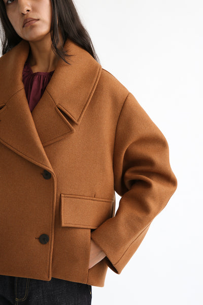 Studio Nicholson Hato Coat - Recycled Wool in Truffle collar and sleeve view