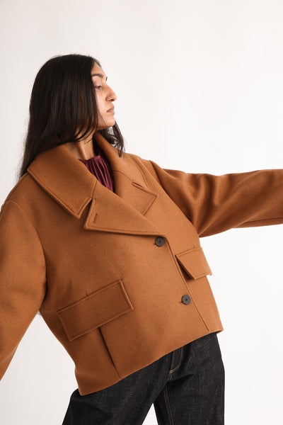 Studio Nicholson Hato Coat - Recycled Wool in Truffle on model view front