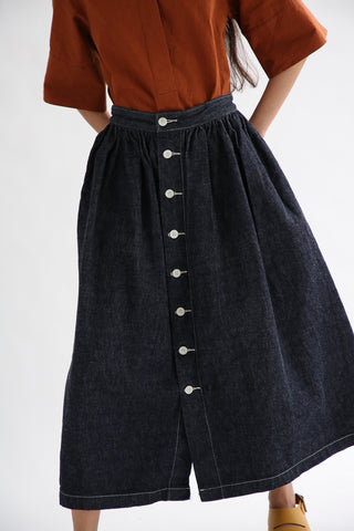 As Ever Floret Skirt - Selvedge Denim in Indigo front