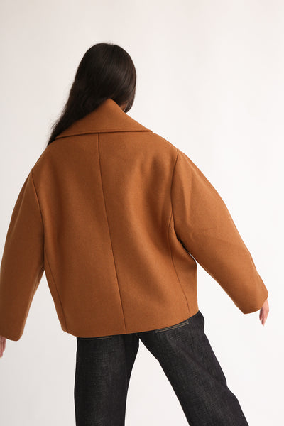 Studio Nicholson Hato Coat - Recycled Wool in Truffle on model view back