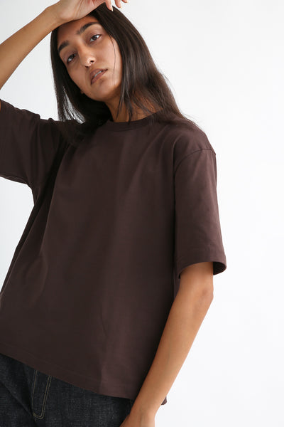 Studio Nicholson Lee T-Shirt - Mercerized Cotton in Espresso side view